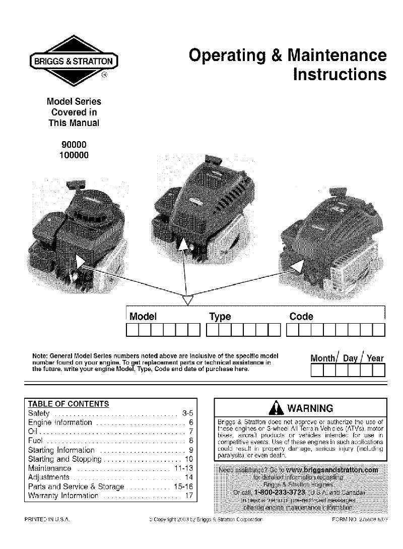 Briggs  U0026 Stratton 90000 Series Snow Blower Operating